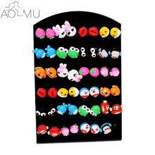 AOMU 24pairs/lot Mix Styles 3D Cartoon Polymer Clay Multicolor Stud Earring Cute Animal Earrings Set for Kids Girls Gift Wholesa