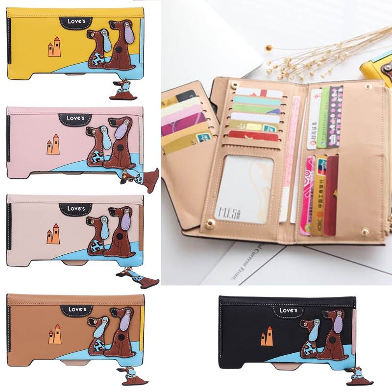 THINKTHENDO Women Faux Leather Wallet Clutch Cute <font><b>Dog</b></font> Pattern Hasp Wallet Card <font><b>Holders</b></font> Purse Lady Long Handbag