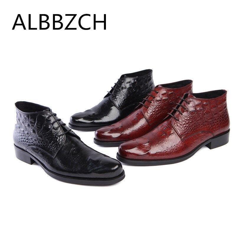 3d45186aa Botas Em Black Negócios Boots Bolsa Relevo Dos 44 Ankle Vestido Alta  Sapatos Qualidade Homens De ...