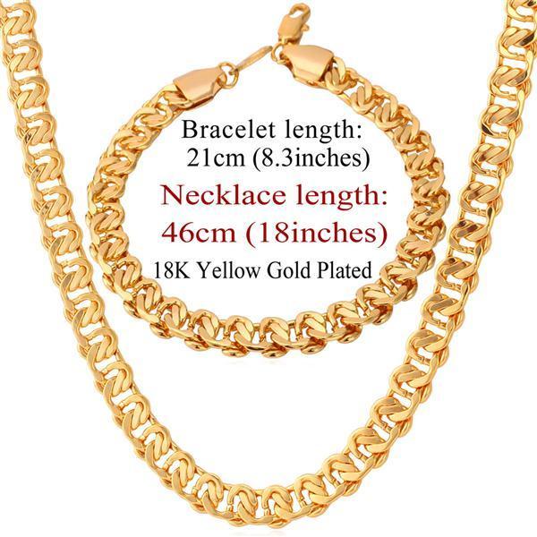 U7 Necklace Set Men Jewelry...