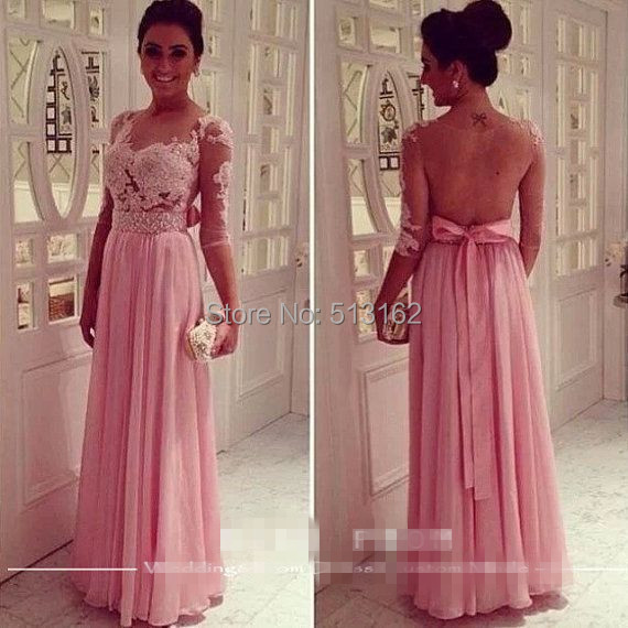 Estilo de moda elegante media manga de color rosa Alecon Appliques ...