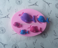 Five Whales Shape 3D Silicone Cake Mold For Jelly, Candy, Lollipop, Lace, Chocolate & Soap Modeling By Handmade G053
