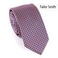 Tailor Smith 100% microfibra Jacquard Designer magro laço dos homens vestido de festa de casamento Formal do negócio gravata magro gravata artesanal