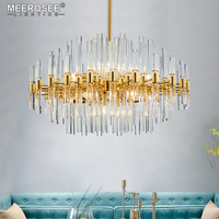 Meerosee Contemporary Crystal Chandelier Lighting Fixture Creative Lustres Hanging suspension Light Dining room Living room Lamp