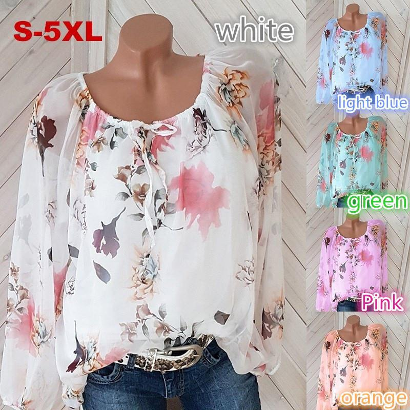 5XL Large Size Spring   Blouses   Top Women Floral Print   Shirt   Casual Cute Puff Sleeve Loose   Blouse     Shirts   Plus Size Women Tops 5XL