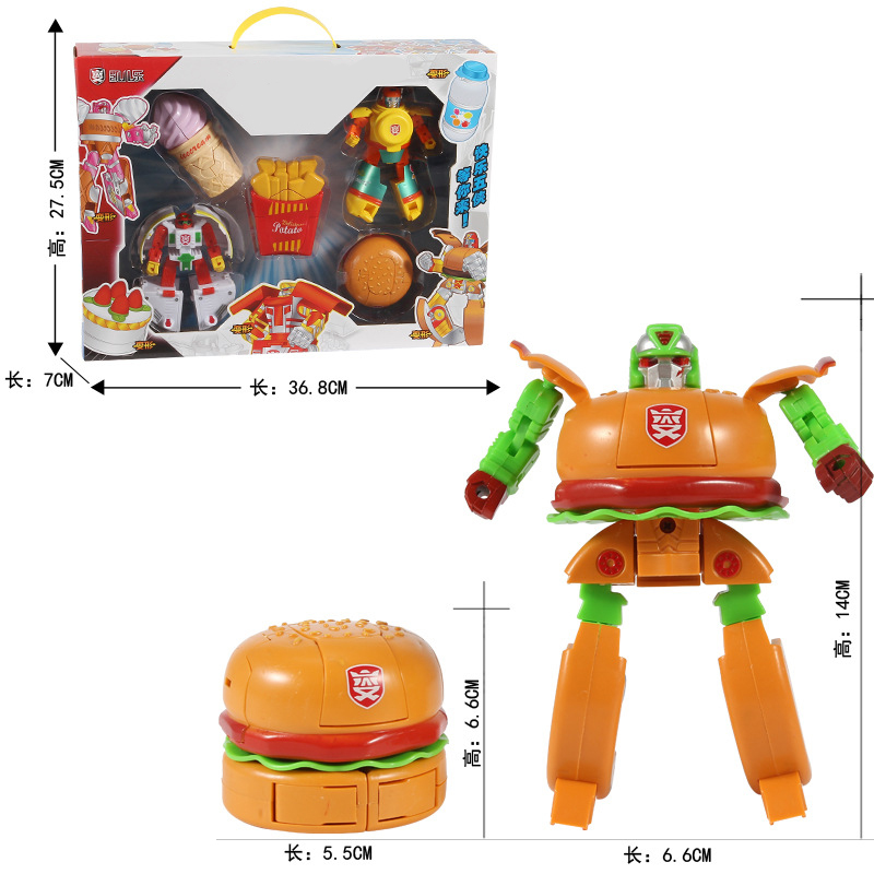 Tokoh Anime Aksi Anak Robot Burger Es Krim Goreng Kue Boneka Model