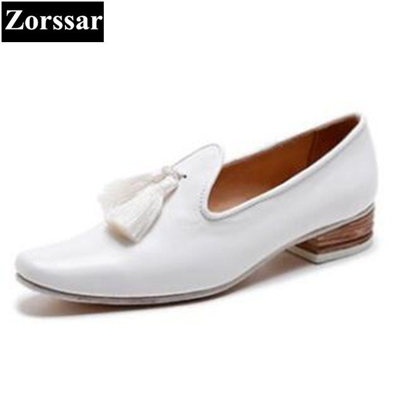 {Zorssar} brand Fashion tassel Real leather Woman high heels women pointed toe Pumps Lady Leisure comfort low heel Single shoes цена 2017
