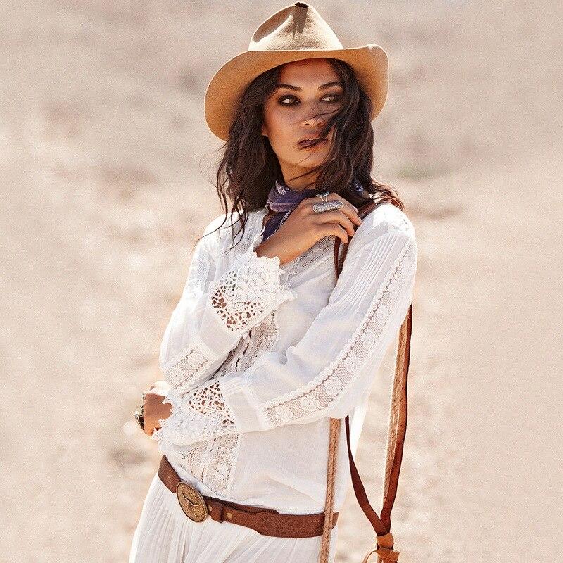 2018 femmes nouveau bohème blouses blanc couleur unie dentelle libre chemises décontractées amples coton petit haut bohème chic mignon blouses