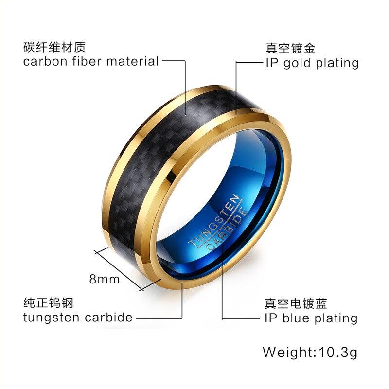 Zwarte Carbon Tungsten Ring Mannen Sieraden Wedding Band