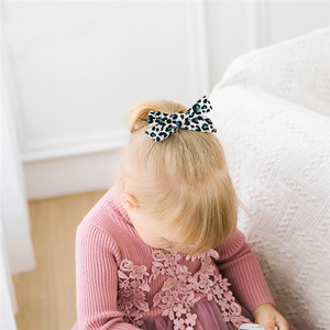 Girls Leopard Bow Hairpins Soft Bow-knot Hair Clips Children Customized Toddler Hair Accessories For Girls Head Wear Hair Claws