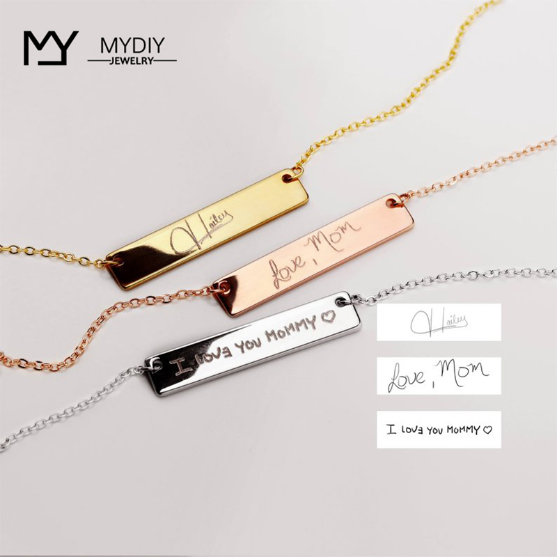Personalized  Customization Name Bracelet For Women Signature Gold Stainless Steel Rose Gold Engraving Bracelet&Bangle Jewelry