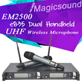 Professional EM2500 SKM100G3 EM2052 True Diversity UHF/PLL Wireless Microphone System with Dual e835 Handheld Transmitter Mic