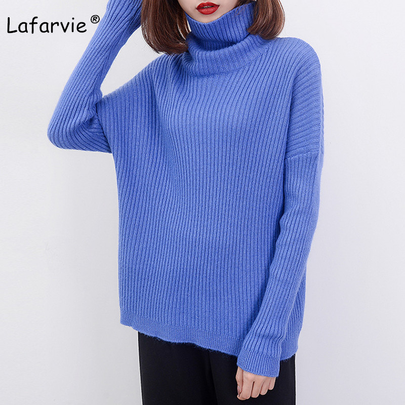 Lafarvie Cashmere Blended Turtleneck Knitted Sweater Women Autumn Winter Pullover Female Casual Loose Soft Warm Thick Sweater