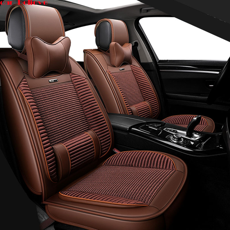 Car Believe leather car seat covers For mitsubishi pajero 4 2 sport outlander xl asx accessories lancer covers for vehicle seats