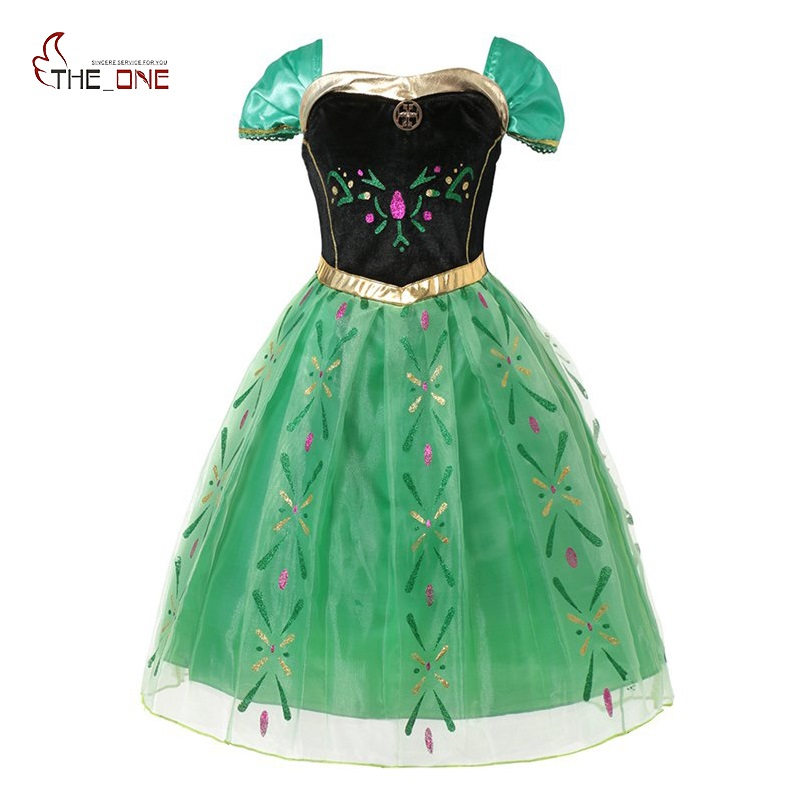 MUABABY Girls Elsa Anna Princess Dress up Children Floral Fairy Tale Cinderella Cosplay Costume Snow Queen Elsa Dress for Girl house fit dd 6901