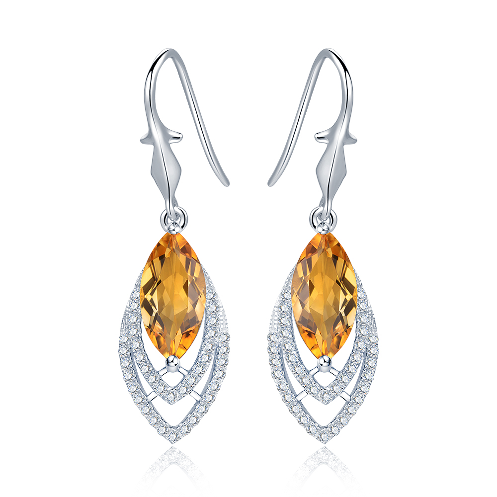 Diva 5.0ct Natural Yellow Citrine Sterling Silver Feather Dangle Earrings diva 5 0ct natural swiss blue topaz sterling silver feather dangle earrings