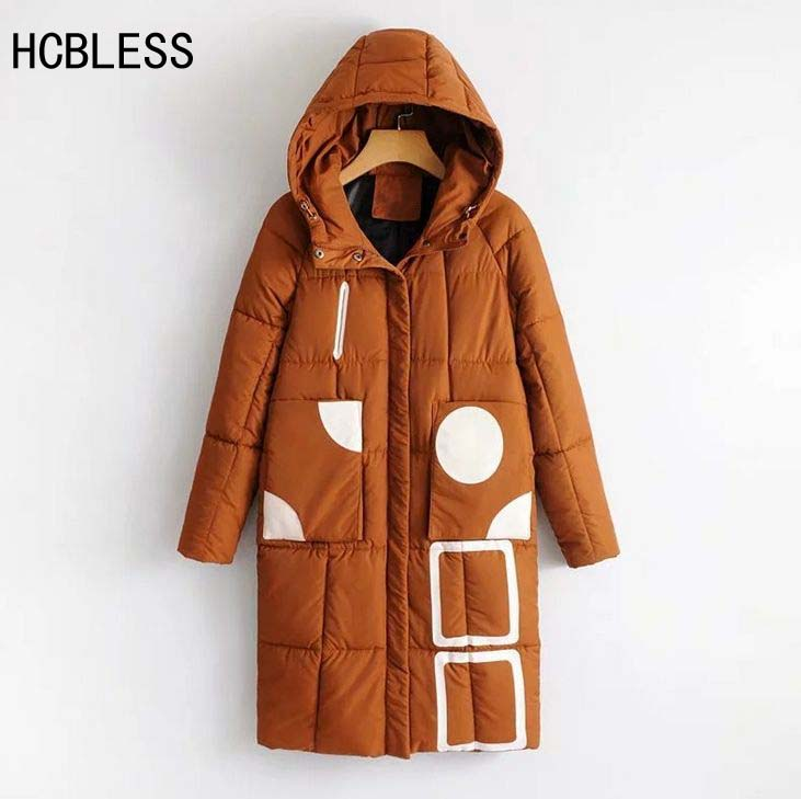 HCBLESS Women Winter Jacket 2017 new Korean version cocoon-type geometric pattern hooded long section bread cotton jackt park