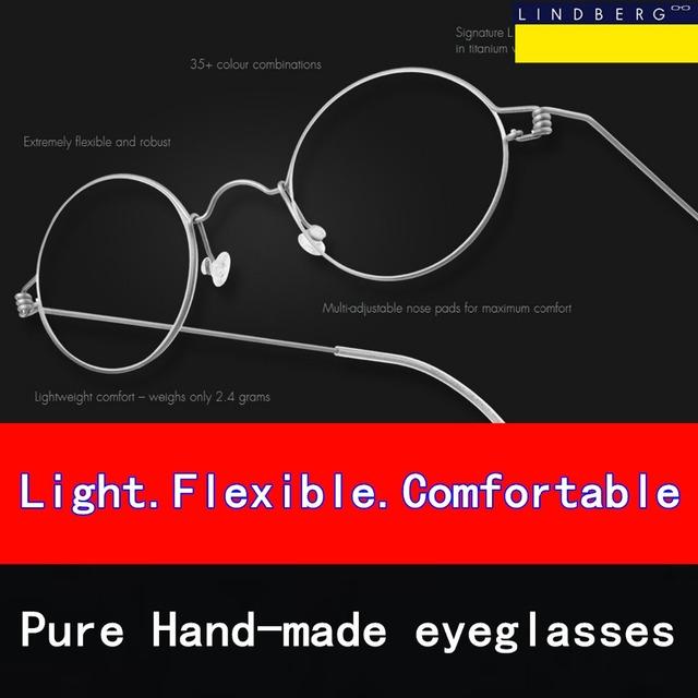 Sin tornillos ultraligero miopía anteojos de marco hecho a mano Puro Oliver gafas marca gafas Retro redondas gafas de sol