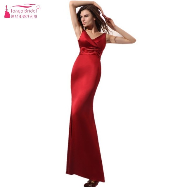 Mermaid Long V Neck Dark Red Satin Bridesmaid Dresses Simple Elegant Bridesmaids Gown China