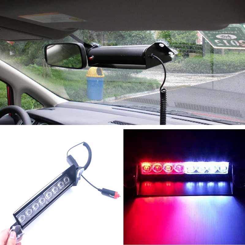 8 LED Rot/Blau Gelb Blau Auto Polizei Strobe Blitzlicht Armaturenbrett Notfallwarn 3 Blinkende Nebelscheinwerfer 3 stil
