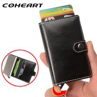 COHEART Automatic Card Wallet Genuine Leather Card Holder Metal Business Card Wallet Purse Small New Product