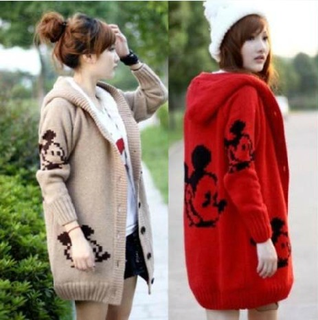 Plus Size Winter Women Cashmere Sweater Thick Loose Warm Hooded Sweater Coat Pocket Cartoon Printed Slim Knitted Long Cardigan