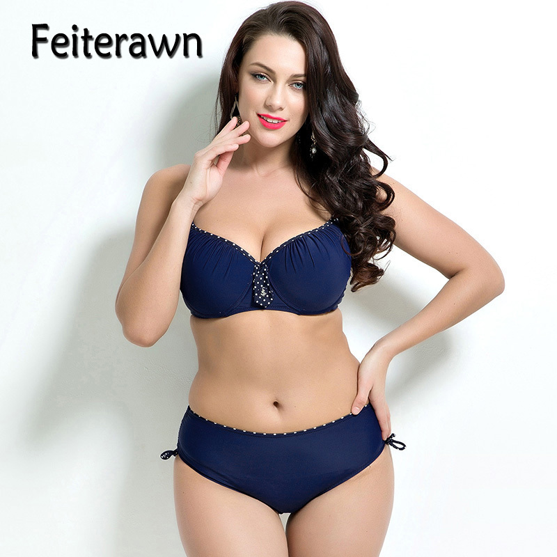Feiterawn Navy Blue Plus Size Bikini Set 2018 Women Swimwear Push Up Swimsuit Female Large Bathing Suit Low Waist Biquini JR1684 plus size swimwear bralzian bikinis women print push up swimsuit low waist bottom blue bathing suit large bikini set 5xl biquini