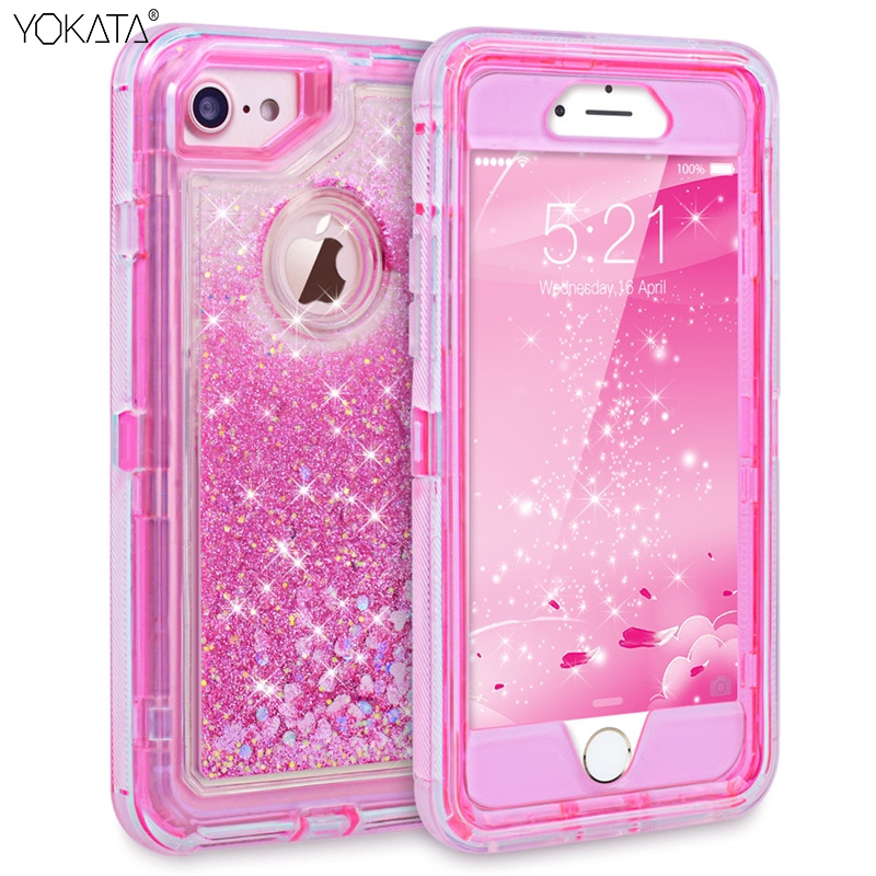 Luxury 3 in1 TPU Bling Clear Quicksand Case For Iphone 6 6s 7 8 Plus X 360 Cover Glitter Transparent Liquid Hard Full Protection