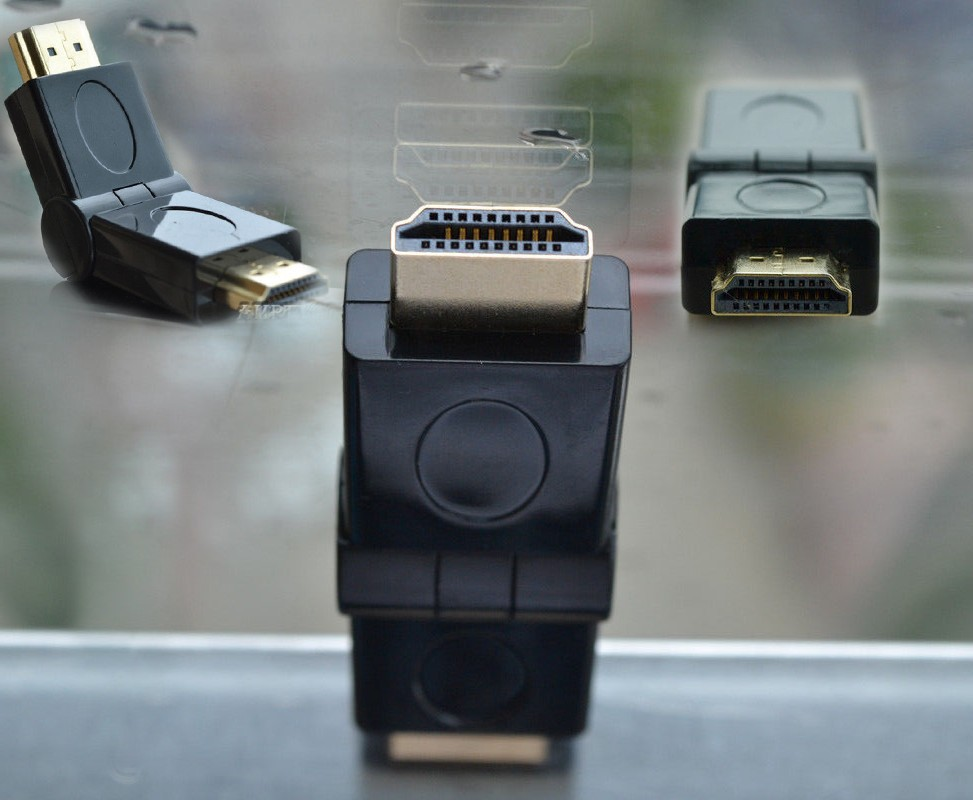 KELUSHI  HDMI Male To Male M/M 180 Angle Rotation Swivel Folding Adapter Converter Gold Fast Shipping