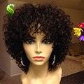Corto Pelucas de Pelo Humano Para Las Mujeres Negras Rizada Profunda Del Frente Del Cordón pelucas Con Pelo Del Bebé Brasileña Virginal Llena Del Cordón Del Pelo Humano Del Pelo pelucas