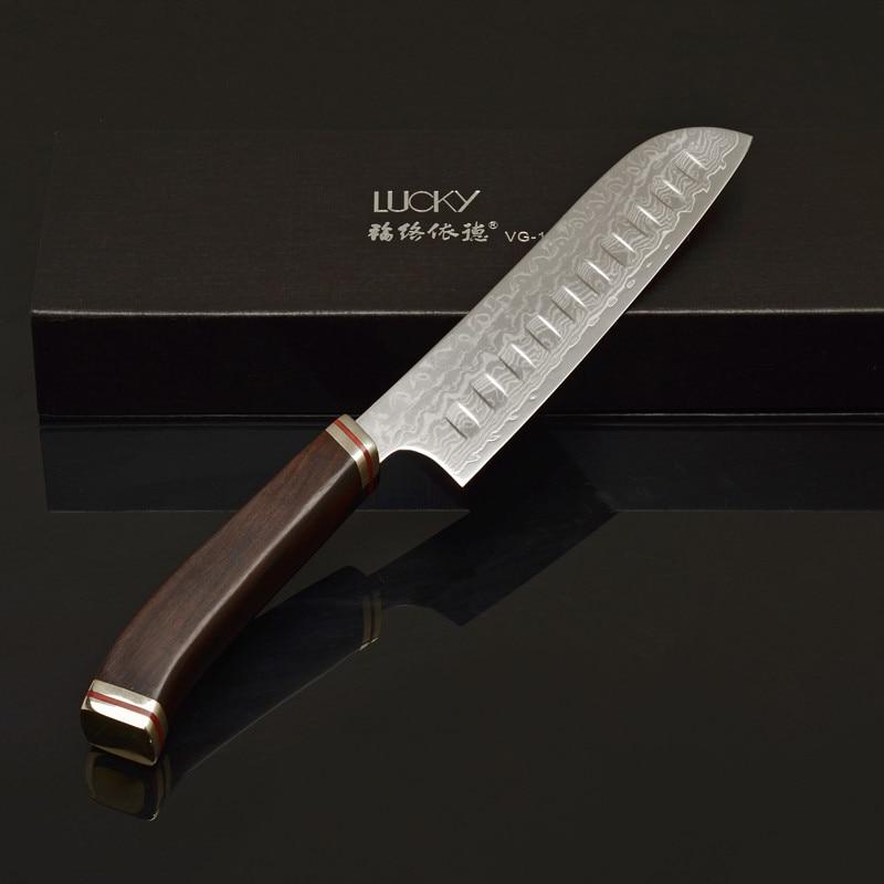 7 '' Kuchyňský nůž Santoku Japonsko VG10 Damašek z nerezové oceli šéfkuchař sekáček Rybí filé řezání Krájení krájení Řezací nástroje 48