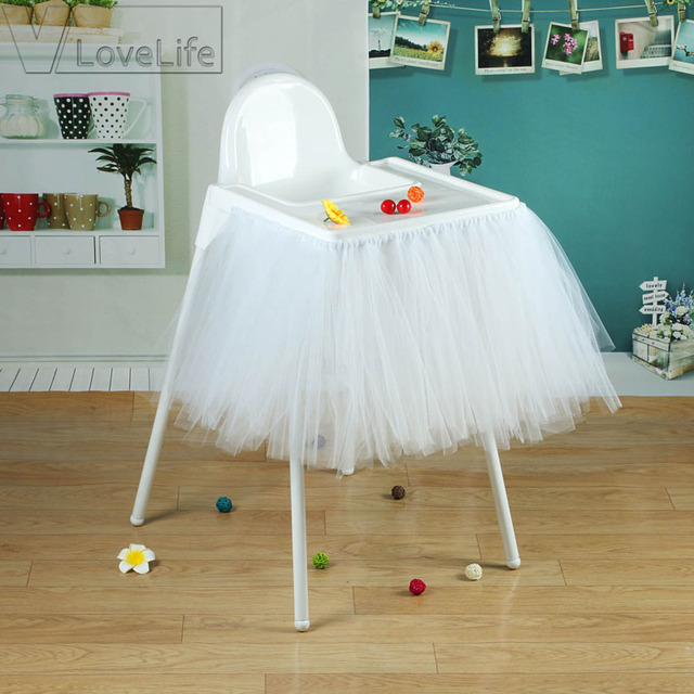 White Tutu Skirt Tulle Chair Skirts Baby Shower Girl Birthday Party DIY  Chair Decoration Table Skirt