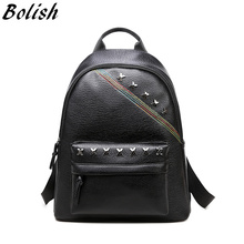 Bolish High Quality PU Leather Women Bag Fashion Rivet Women Backpack Preppy Style Color Line Female Backpack Travel Bag