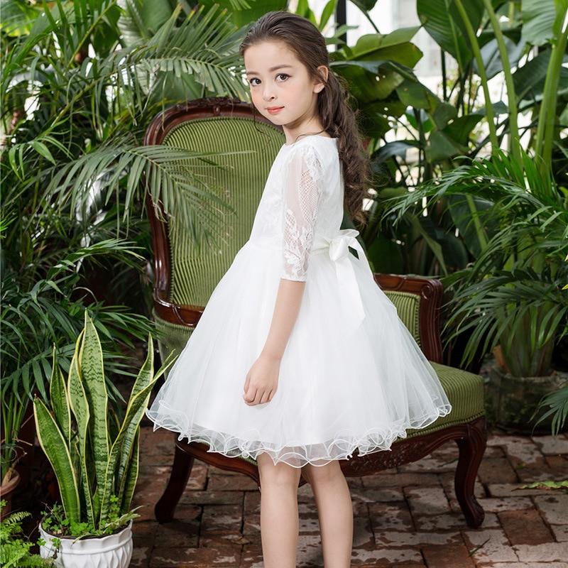 d6d25782a3aa New Flower Girl Dresses White First Communion Long Sleeves Wedding ...