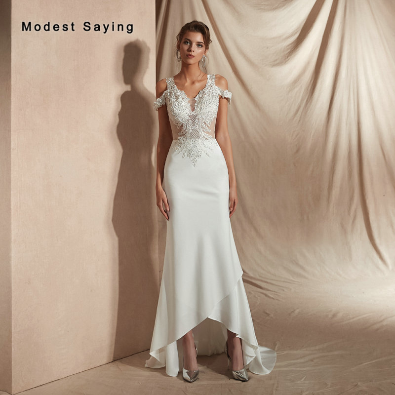 Sexy See Through High/Low V Neck Crystal Lace Boho Wedding