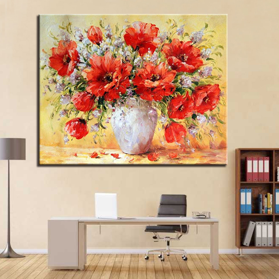 Oil Painting By Numbers DIY Coloring Red Flower Pictures On Linen Canvas Home Wall Artwork Decorative
