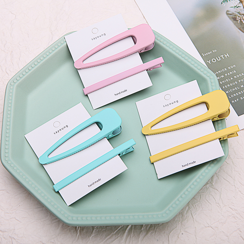MISM 2pcs/set INS Hot Hairpins Set BB Clip Fashion Solid Barrettes Hair Accessories Candy Color Hairclips Sweet Girls Hairgrips