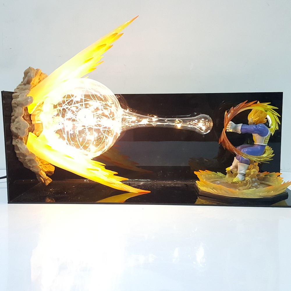 Dragon Ball Z Vegeta Final Flash Action Figures Led Scene Anime Dragon Ball Super Vegeta Figurine Toy Doll Gift