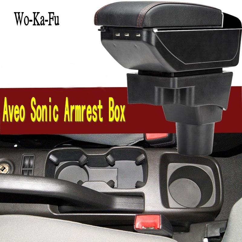 Pour Chevrolet AVEO Sonic boîte accoudoir central Magasin contenu boîte De Rangement avec porte-gobelet cendrier USB interface 2004-2016