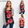 2016 Fashion Women Shirts Tops Spring Autumn Round Collar Long Sleeve Floral Print Tops Striped Sleeve Patchwork Long t shirts