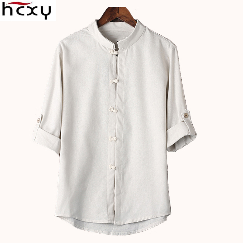 HCXY Chinese style linen shirt mens blouse new big yards 7 points sleeve cotton shirt M-5XL famous brand men shirts 2017