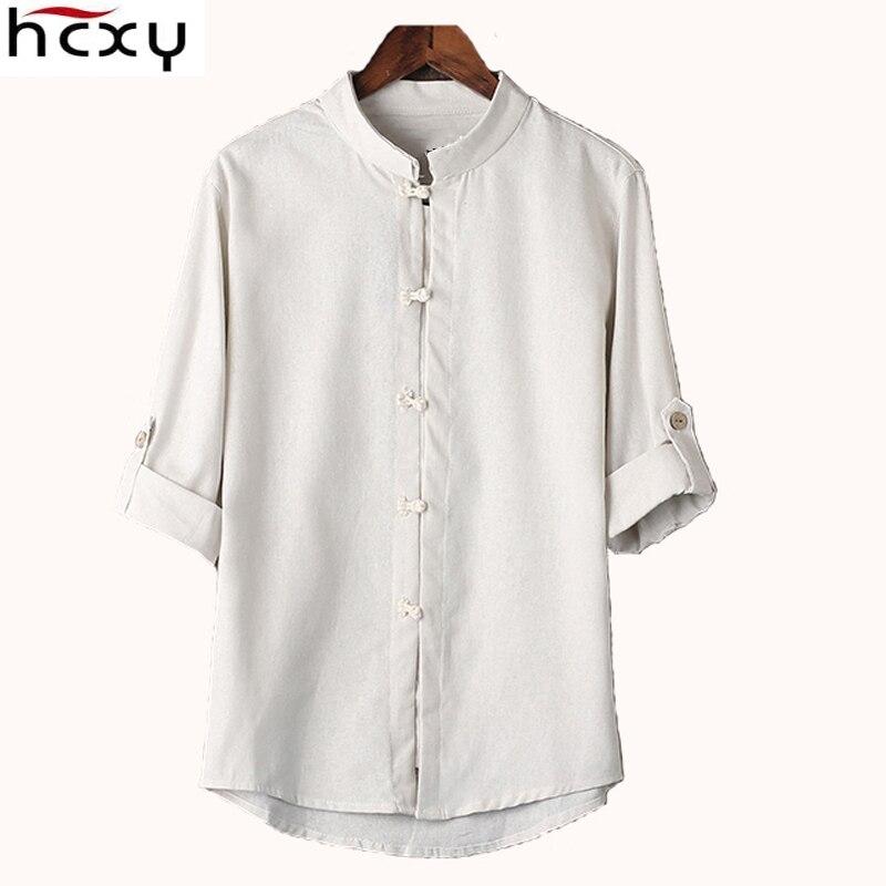 HCXY biancheria di stile Cinese mens camicia camicetta nuovi grandi cantieri 7 punti del manicotto del cotone della camicia M-5XL uomini famosi di marca camicie 2017