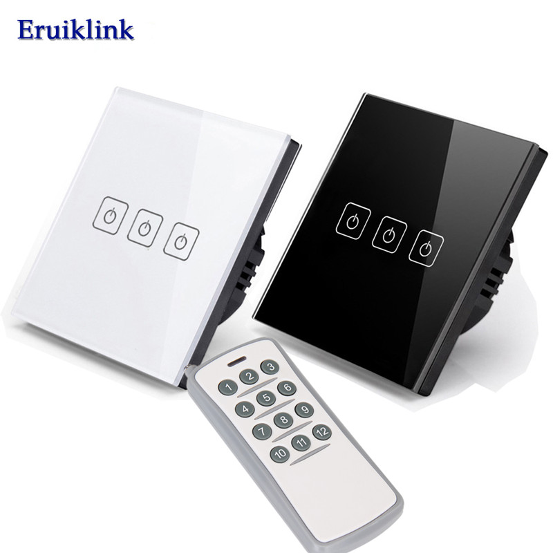 Eruiklink EU/UK Standard Light Switch,3 Gang 1 Way 220V Remote Control Wall Touch Switch for RF433 Smart Home smart home touch switch power switch eu standard black 3 gang 1 way crystal glass wall switch 220v light switch control led