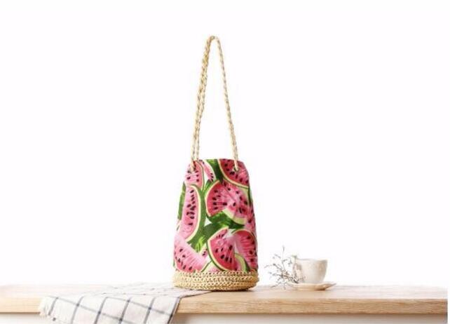Sac de plage d'été en paille Sackpack sac de plage frais fruits pastèque impression fourre-tout femmes sac seau sac à bandoulière en toile sacs à main tissés