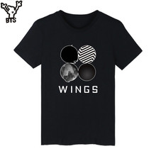 BTS Bangtan de Manga Corta Camiseta Blanca de Las Mujeres Populares de Corea de La Cadera Hop Alas Kpop Divertida Camiseta de Las Mujeres Del Verano Del Algodón Ocasional camiseta