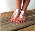 Crochet barefoot sandálias, Hippie Tangas pé, sol pé crochê, jóias pé, yoga, tornozeleira