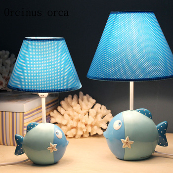 Cartoon creative fish desk lamp children's room Princess Room girl's bedroom bedside lamp lovely animal LED lamp free shipping