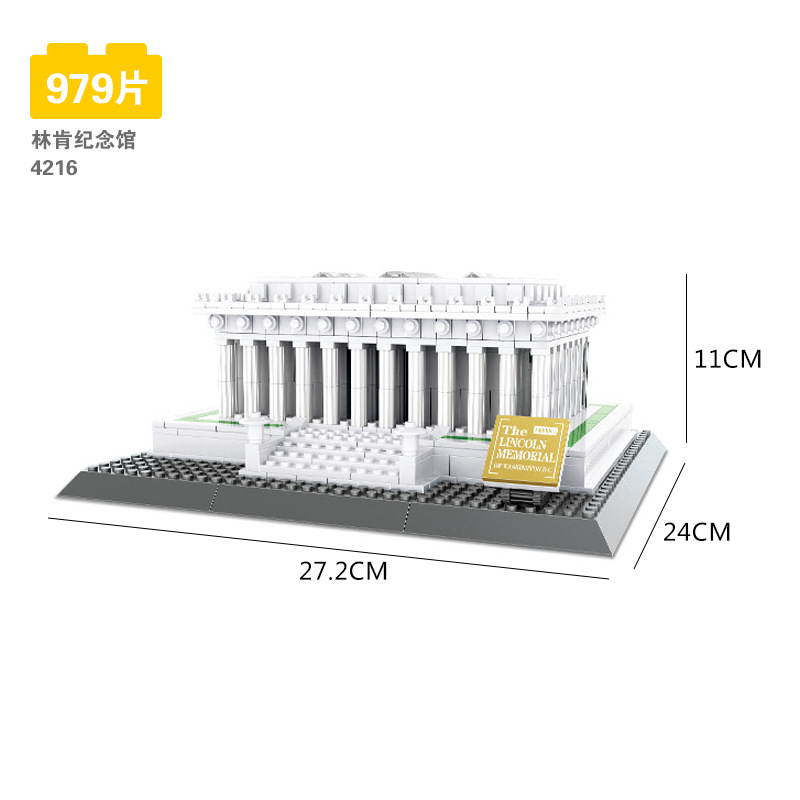 wange blocks World Architecture Lincoln memorial Model Building Bricks for children creative toys Brinquedos birthday gifts