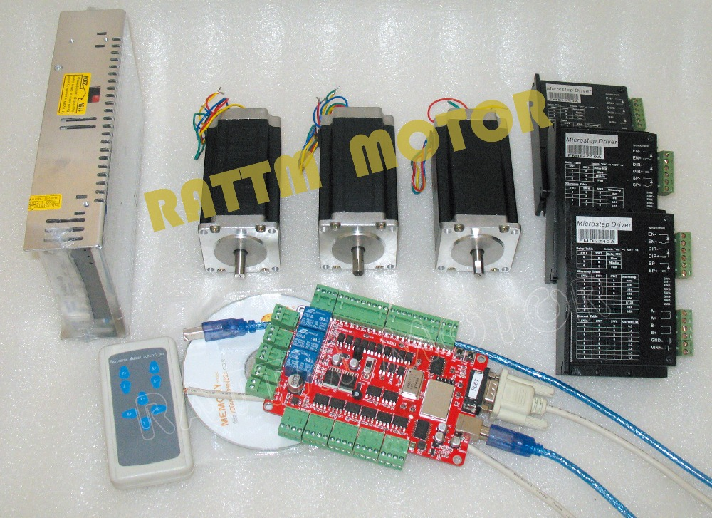 DE /US Delivery!! USB port 3 Axis CNC Nema23 425oz in (Dual shaft) stepper motor & Motor Driver Controller Kit
