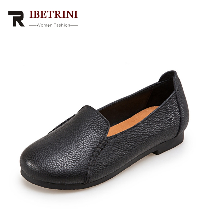 RIBETRINI Fashion Cow Leather Flats Shallow Large Size 34-40 Loafers Woman Slip-On Sewing Low Square Heel Casual Women Shoes new fashion luxury women flats buckle shallow slip on soft cow genuine leather comfortable ladies brand casual shoes size 35 41